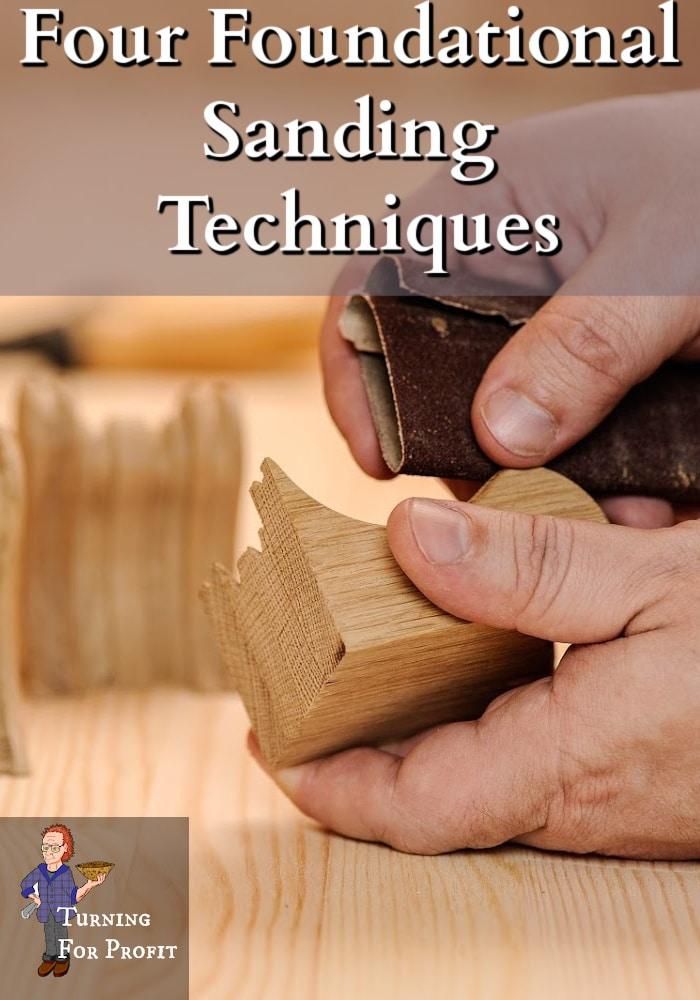 Hands sanding a wooden art piece