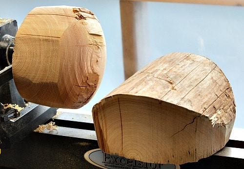 Two bowl blanks ready for the lathe
