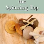 A pile of wooden spinning tops