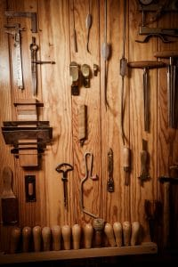 tools organized and hanging on the wall