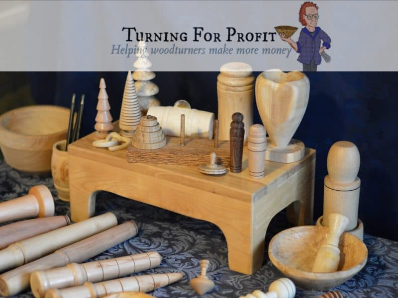 Turned wooden items on display at craft fair