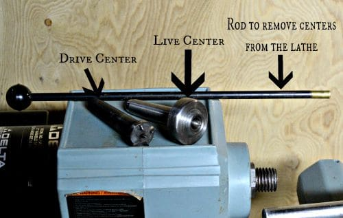 Wood Lathe centers with knock out rod