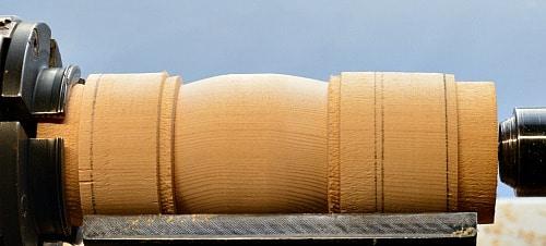 Woodturning center of barrel turned