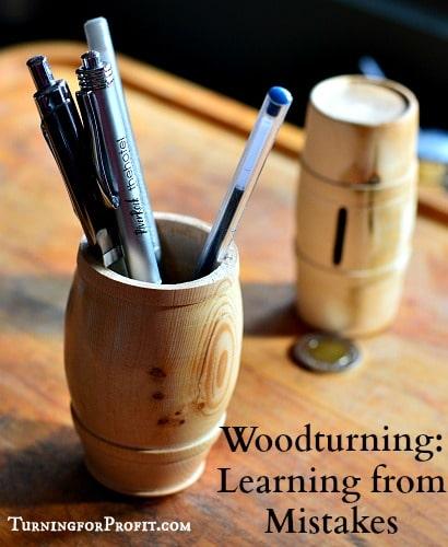 Woodturning finished pen holder - barrel shaped