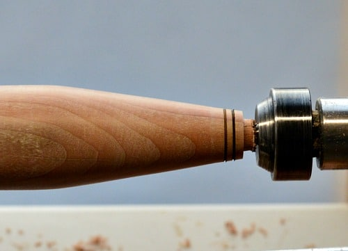 Woodturning - burn lines on the other end of the handle