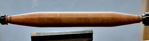 Woodturning - Finished Rolling Pin with burn lines