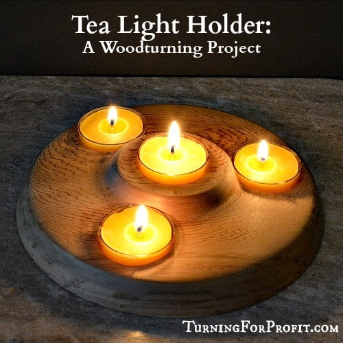 tea light holder, the finished candle holder with 4 lit candles