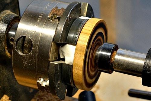 Jar Lid - Jar lid is reversed and held inthe chuck