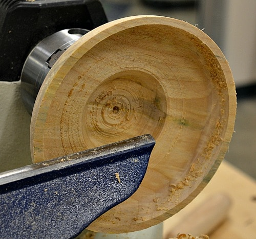 Woodturning workshop - using a drill bit to determine the depth of the bowl