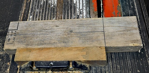Keep lots of wood on the miter gauge as you are cutting off the squares