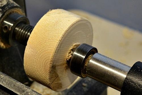 scrap piece of wood on a lathe
