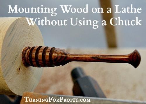 wood mounted on a lathe
