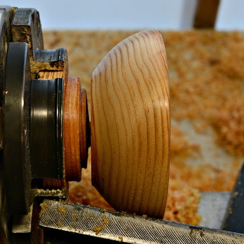 Parting the ring holder from the lathe