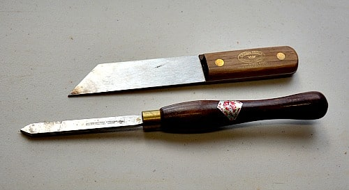 """Two styles and sizes of parting tools 1/8"""" and 1/16"""""""