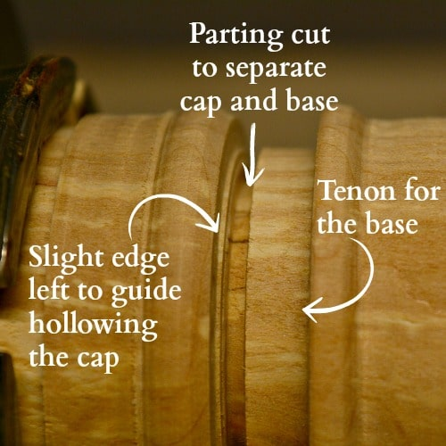The parting tool makes the tenon, parting cut, and small ridge in a turned box