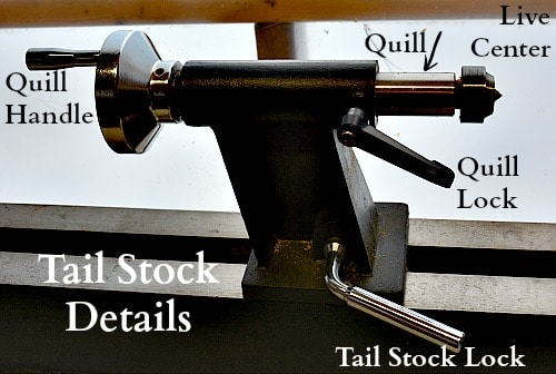 Details of the tail stock from the reverse side