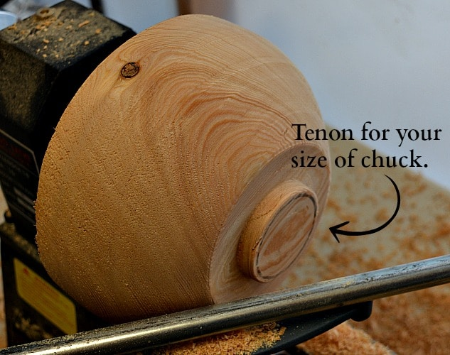 Outer part of the yarn bowl is shaped with a tenon for your specific chuck