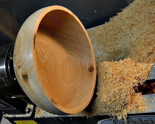Well I've made my shavings and this is the inside of the yarn bowl