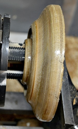 Station is reversed chucked on the lathe