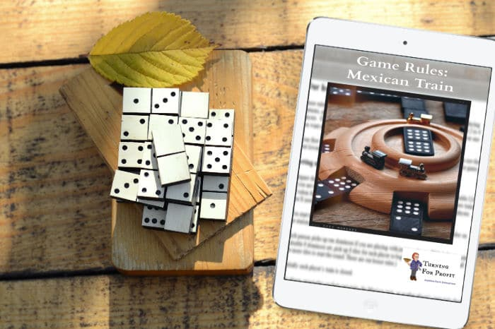 Turn a Mexican Train Dominoes hub and make dominoes more fun. This wood turned domino train station is a little challenging but still easy for a beginner.