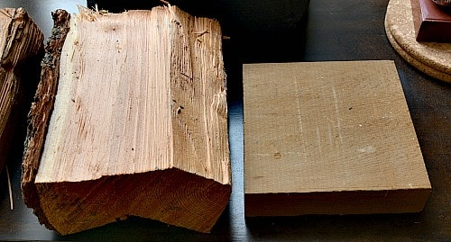 A larch (left) and cedar (right) blank for a wood trivet