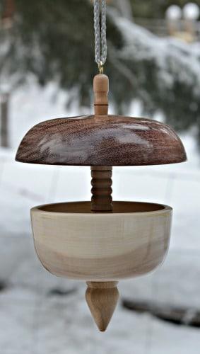 A turned bird feeder is beautiful artisan work.